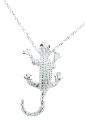 Kette mit Anhänger in Form eines Geckos mit Saphiren 925-silber