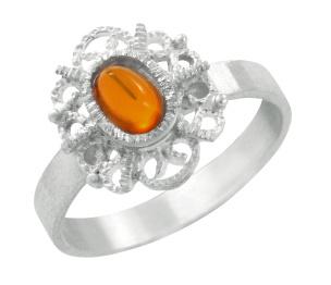 Ring in Silber 925/- mit einem Bernstein