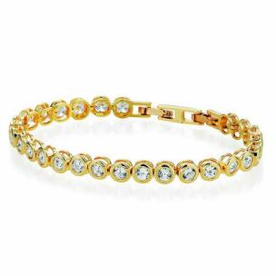 Damen Armband mit Kristallen gelbgoldfarbig