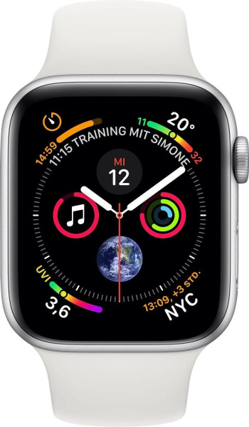 "APPLE Smart Watch ""Watch Series 4"" (GPS + Cellular, 44 mm Aluminiumgehäuse, Silber/Weiß)"