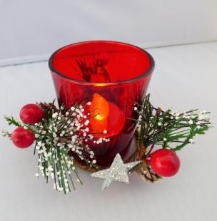 Weihnachten Teelichthalter Glas rot