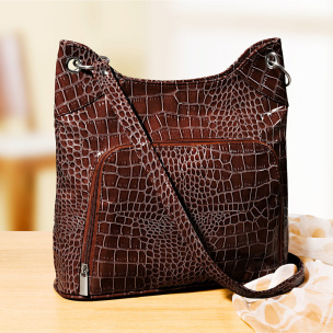 Handtasche Kroko-Look braun
