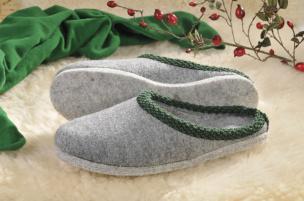 Walker-Pantoffeln mit Filz-Sohle (grau) Gr.40