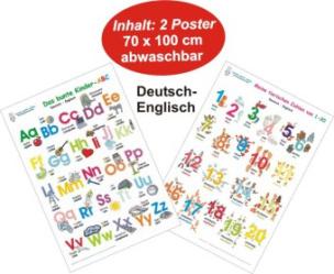 Das bunte Kinder-ABC + Meine tierischen Zahlen, Deutsch/Englisch, 2 Poster