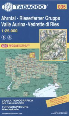 Tabacco topographische Wanderkarte Ahrntal, Rieserferner Gruppe. Valle Aurina, Vedrette di Ries