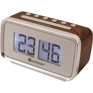 Uhrenradio mit Festsenderspeicher und Dual-Alarm - Holz-Braun