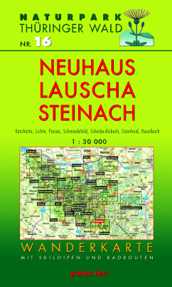 Wanderkarte mit Loipen und Radrouten: Thüringer Wald Nr.16